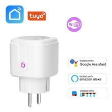 Smart WIFI Power Soket Uni Eropa Plug Nirkabel 16A Power Monitor Tuya Outlet untuk Rusia Korea Spanyol Dukungan Alexa Google Home ifttt(China)