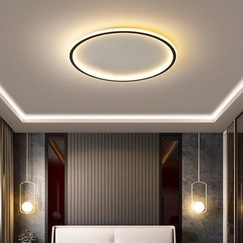 Skandynawska minimalistyczna nowoczesna ultra-cienka lampa sufitowa LED czarna biała prostokątna okrągła sypialnia salon jadalnia lampa sufit pokoju tanie i dobre opinie xcvoc CN (pochodzenie) Oświetlenie dzienne Brak Metrów 15-30square Łóżko pokój Hot zginanie Wysokiej polimeru 90-260 v