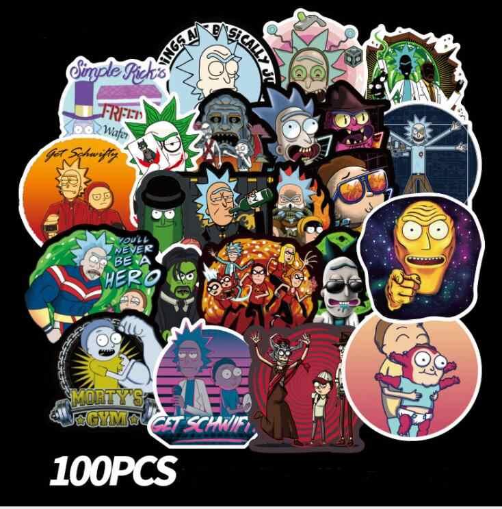 100Pcs Rick e Morty Anime Adesivo À Prova D' Água Para Laptop Guitarra Bagagem Skate Decalque Da Motocicleta Laptop Adesivos Autocolantes para Telefone de Brinquedo