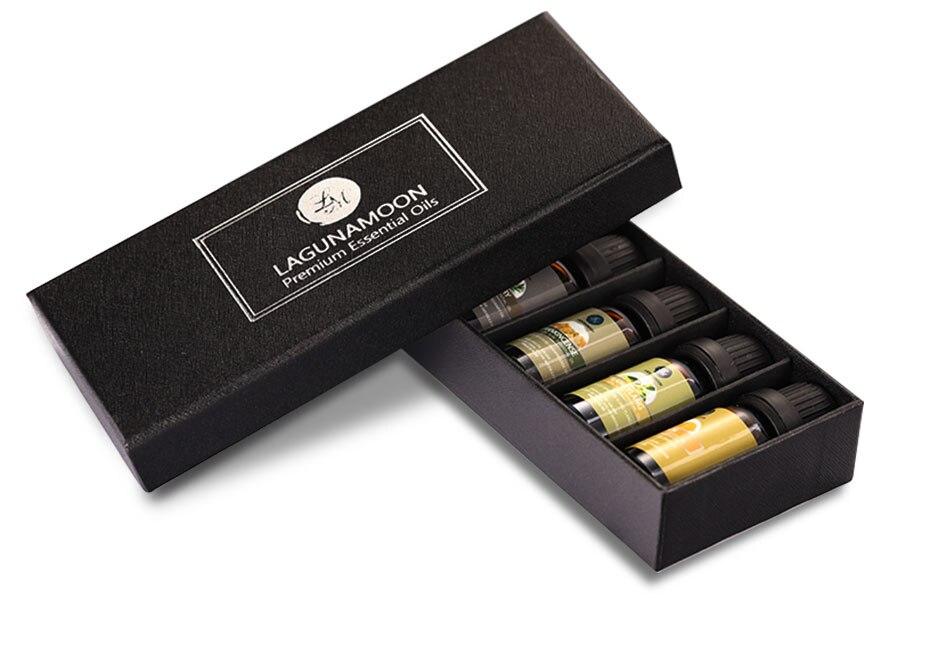 Lagunamoon Pure Essential Oils 10ML 6pcs Gift Set Humidifier Aromatherapy Rosemary Lemon Cinnamon Frankincense Bergamot Ylang