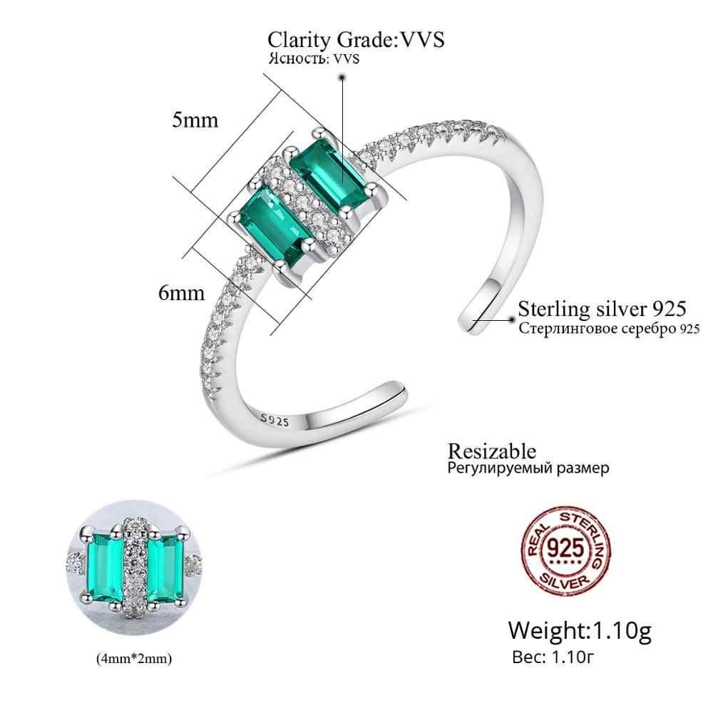 CZCITY จริง 925 เงินสเตอร์ลิงสแควร์ Topaz ปรับขนาดได้แหวน Micro CZ เปิดแหวนเครื่องประดับของขวัญ SR0311