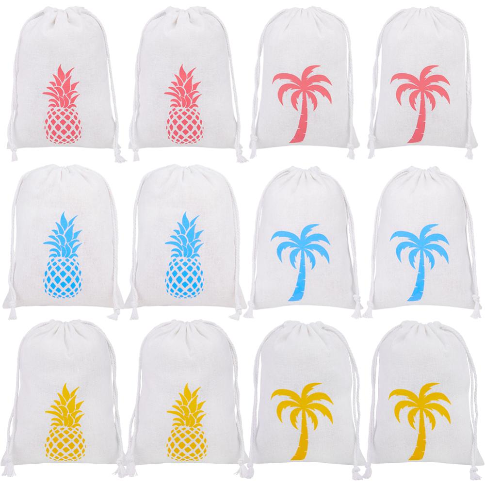 12 Pcs/set Pineapple Palm Tree Printed Bunch Pocket 3 Colors Party Gift Bags Hawii Stlye Wedding Gifts Bag