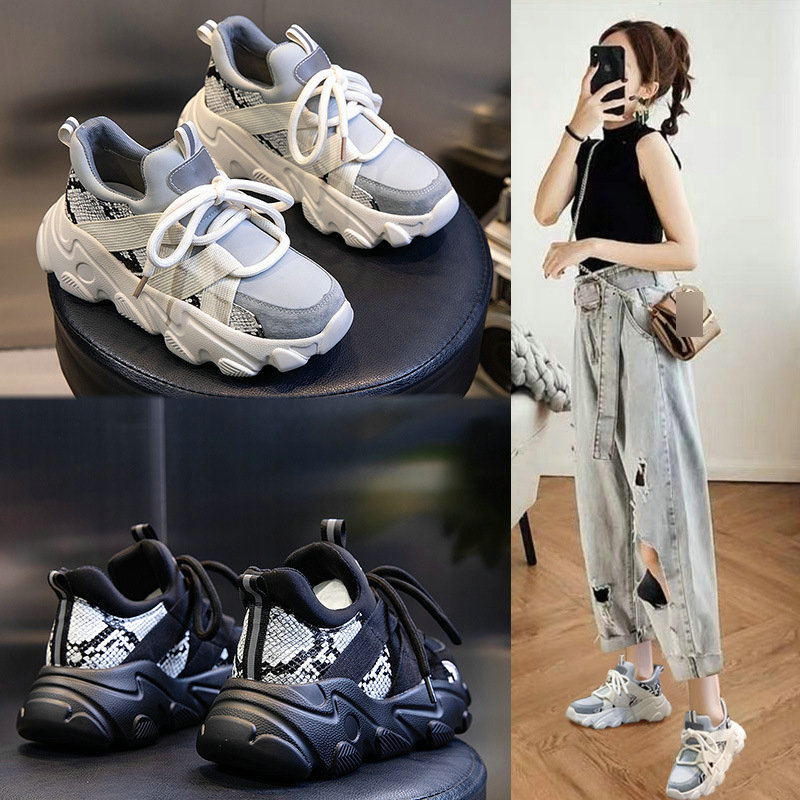 Female spring 2020 new casual wild leather sports shoes female shallow mouth round head female running shoes ZZ-231