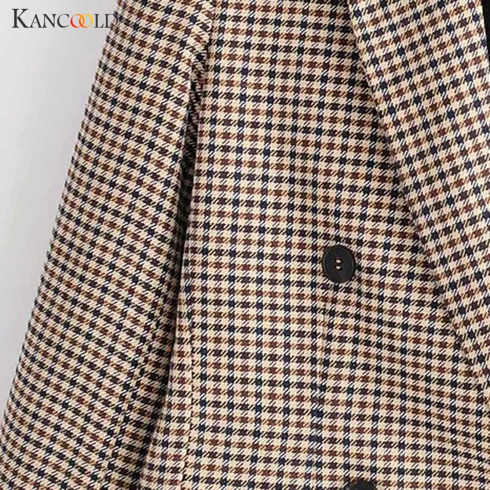 Fashion Plaid Women Blazer Coat Retro Button Lattice Suit Jacket with Shoulder Pads Jacket Blazer Female Casual Coats femininos