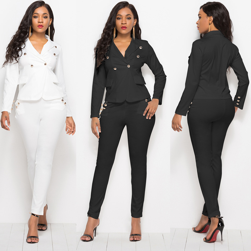 Black White Women Button Nail Bead 2 Pcs Suit Elegant Blazer Jacket Coat Pencil Slim Long Trousers Female Outfits England Style