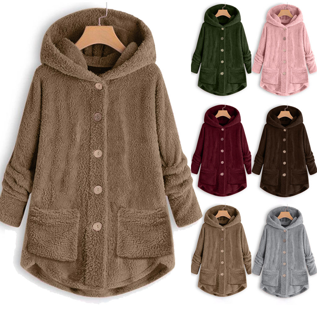 6 Colors Women's Coats Stylish Female Long Sleeve Jackets Plush Tops Hooded Loose Cardigan Wool Coat Winter Jacket Plus Size