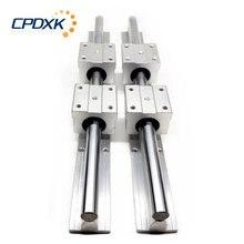Sbr guia linear 2 pces sbr20/sbr16/sbr12 comprimento 250mm-1600mm + 4 pces sbr12uu/16uu/20uu blocos lineares para peças cnc