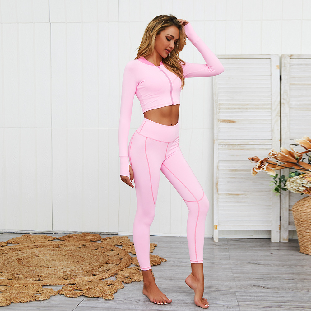 Autumn And Winter Europe And America Hot Sales Yoga Tight Long-sleeved Coat Set Yoga Suit Fitness Suit WOMEN'S Yoga Suit