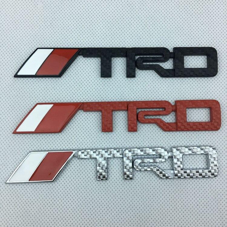 1X14. 3cm * 2.2cm 3D métal TRD voiture avant arrière emblème coffre Badge autocollant logos voiture style noir rouge argent grille carbone