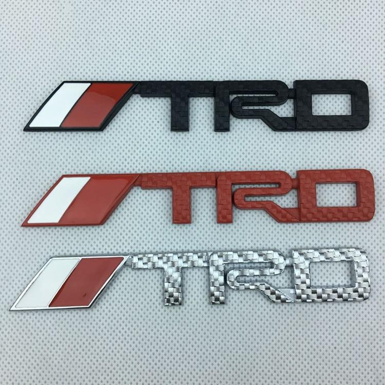 3D autocollant 3D TRD en métal | Autocollant avant et arrière de voiture, Badge de coffre, logos de voiture, noir rouge argent grille carbone, 14.3cm * 2.2cm, 10 pièces