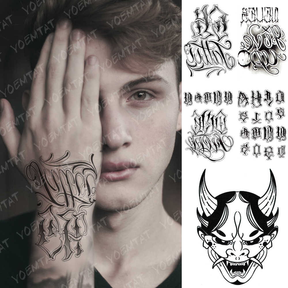 Tahan Air Stiker Tato Sementara Prajna Gothic Stereo Palsu Tatto Flash Tato Tangan Lengan Pergelangan Tangan Teks Tato Seni Tubuh untuk Wanita pria