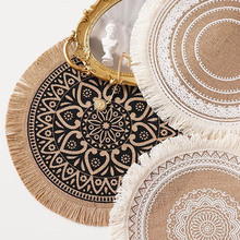 Round Embroidery/Lace Table Placemat Nordic Style Non-slip placemat Heat Insulation Furniture Decoration mat Coffee Cup Mats