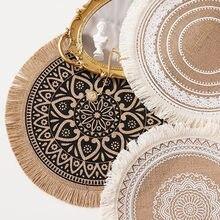 Napperon de Table rond brodé, antidérapant, Style nordique, isolation thermique, tapis de décoration pour meubles, tapis pour tasses à café