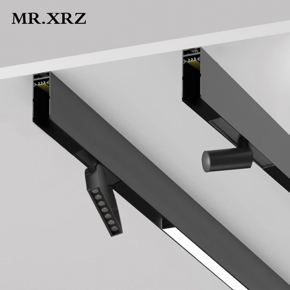 MR XRZ LED Surface Magnet Track Lights DC 24V 8W 10W 14W 28W Led Lamps Magnetic Rail Ceiling System For Indoor Track Lighting