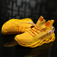 Men's Casual Walking Shoes New Brand Large Size 46 Sports Trainer Men's Yellow Color Sneakers Mesh Breathable Walking Shoes Men