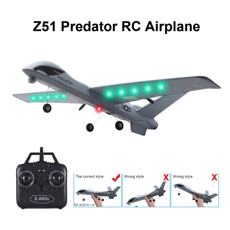 RC Airplane Plane Z51 20 Minutes Fligt Time Gliders 2.4G Flying Model with LED Hand Throwing Wingspan Foam Plane Toys Kids Gifts image