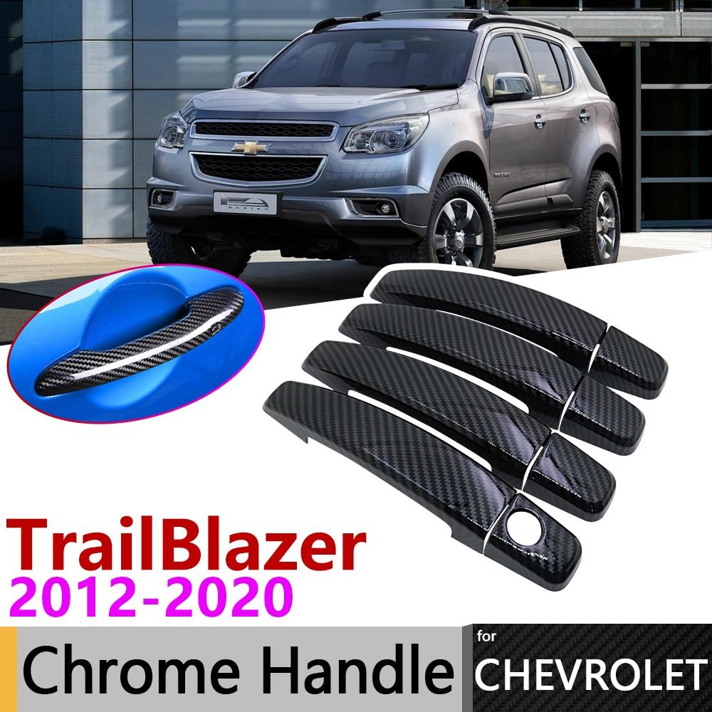 Black Carbon Fiber Door Handle Cover For Chevrolet TrailBlazer MUX 2012~2020 2018 2019 Car Accessories Stickers Trim Set Chrome