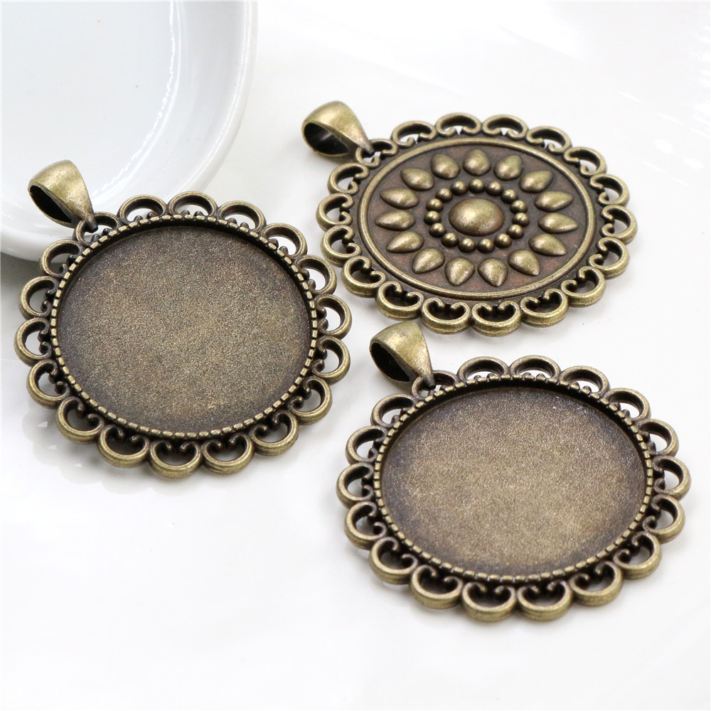 2pcs 30mm Inner Size Antique Bronze Classic Style Cabochon Base Setting Charms Pendant (B6-22)