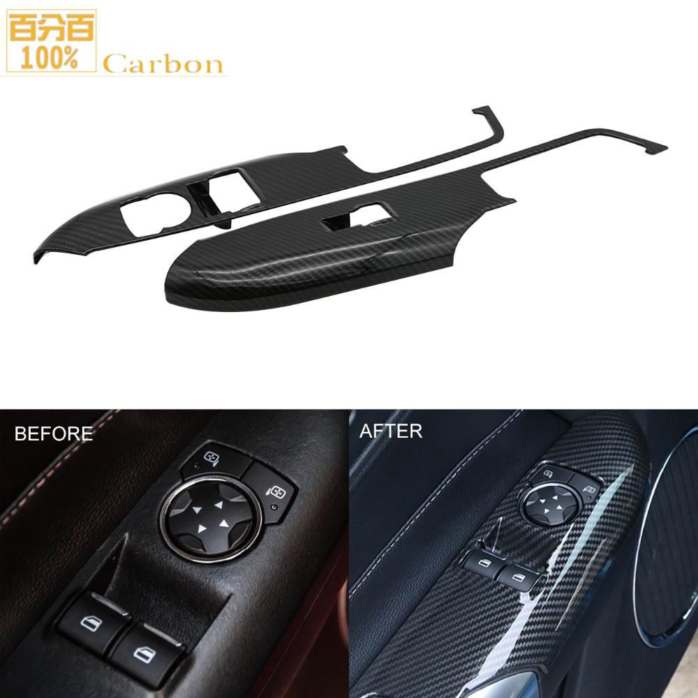 Glossy Black 100% Real Carbon Fiber Inner Door Armrest Decoration Cover Trim For Ford Mustang 2015 2019|Exterior Door Handles| |  - title=