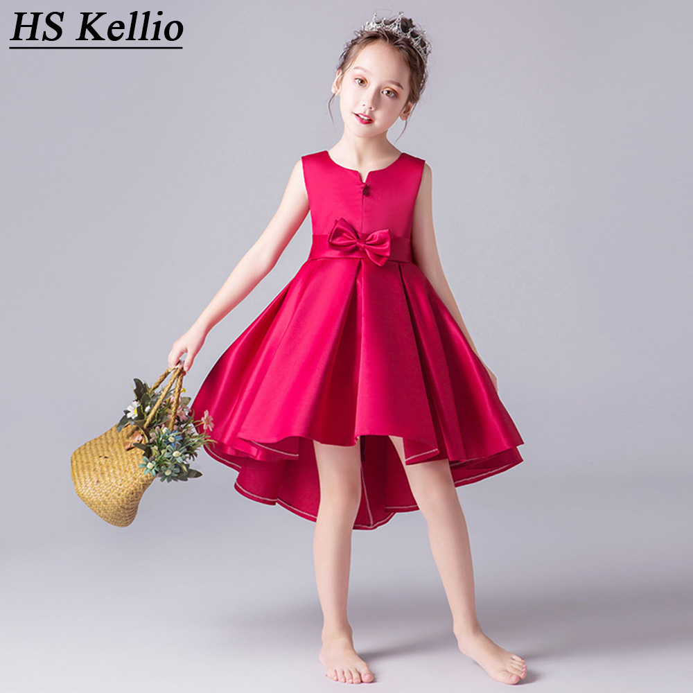 HS Kellio   Flower     Girl     Dress   Red Wine With Bow Satin Wedding Party Gowns For Baby   Girls