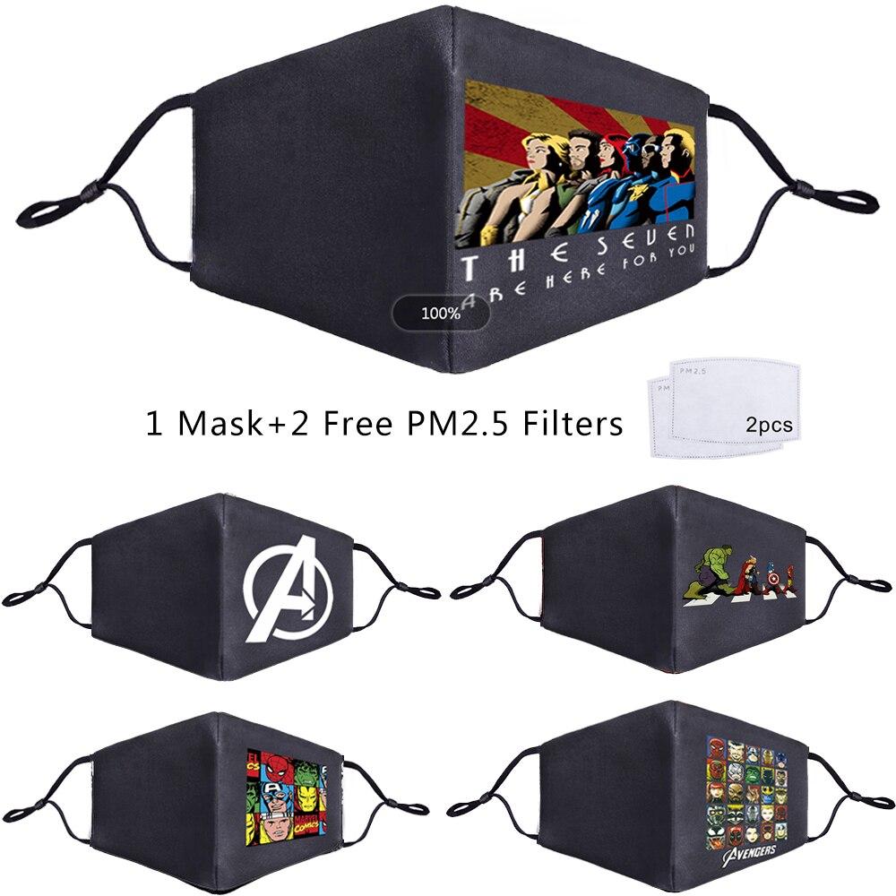 The Avengers Superhero Super Hero Reusable Mouth Face Mask PM2.5 Filter 2 Pcs Anti Haze Dustproof Cover Respirator Muffle Masks