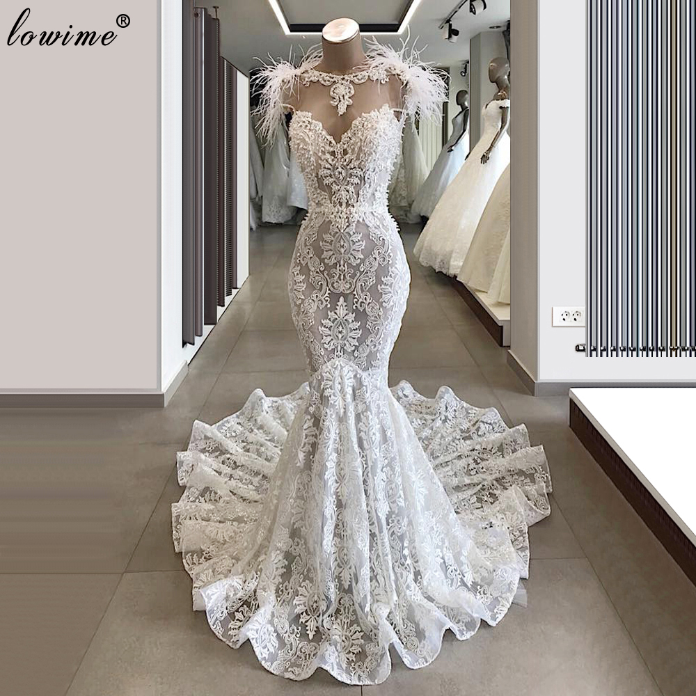 Dubai White Wedding Dresses 2020 Mermaid Turkish Wedding Gowns Formal Vestido De Noiva Elegant Robe De Mariee Free Shipping