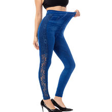 Calofe Zomer Vrouw Sexy Legging Womens Naadloze Corset Imitatie Denim Borduurwerk Print Hollow Out Leggings Stretch Broek(China)
