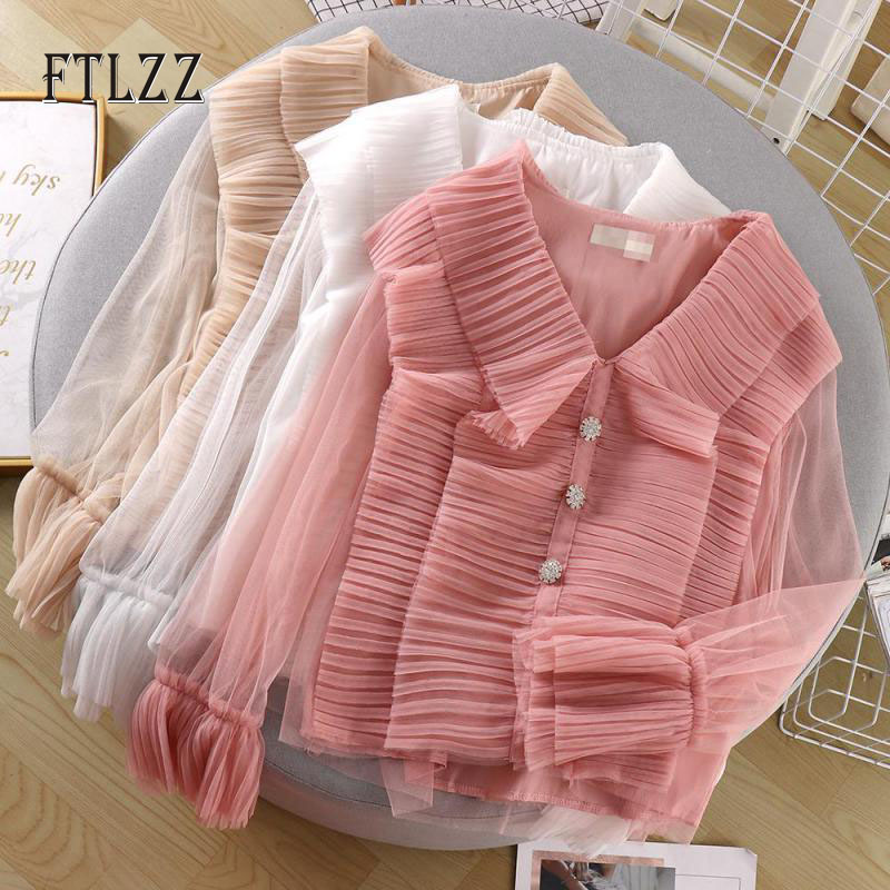 Sexy V Neck Pleated Blouse Women Mesh Perspective Long Sleeved Fashion Shirt New 2019 Spring Autumn Vintage Tops
