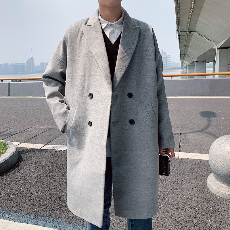 YASUGUOJI Casual Loose Double Breasted Long Coat Men High Quality Wool Winter Coat Men Manteau Laine Homme Overcoat Male
