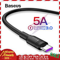 Baseus 5A USB Type C Cable for Huawei Mate 30 Mate 30 Pro P30 Super Quick Charge 3.0 Type-C Cable Fast Charge Code USB C Wire