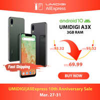 "UMIDIGI A3X Android 10 Global Version 3GB RAM 5.7"" Smartphone Dual Rear Camera 13MP Selfie MT6761 Dual 4G Triple Slots 3300mAh"