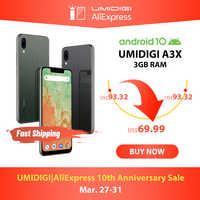 "UMIDIGI A3X Android 10 versión Global 3GB RAM 5,7 ""Smartphone cámara trasera dual 13MP Selfie MT6761 Dual 4G Triple Slots 3300mAh"
