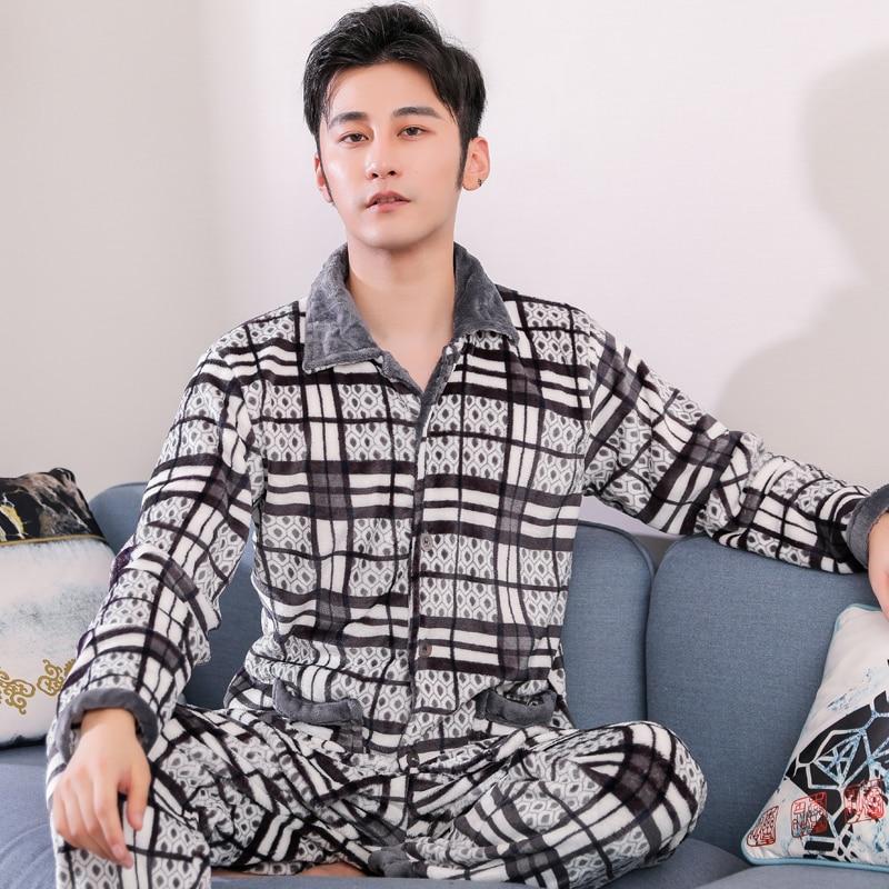 Winter Plus Size 3XL Flannel Christmas Pajama Men Sleepwear Thick Fleece Warm Plaid Pajama Set Man Casual Home Clothes Pijamas