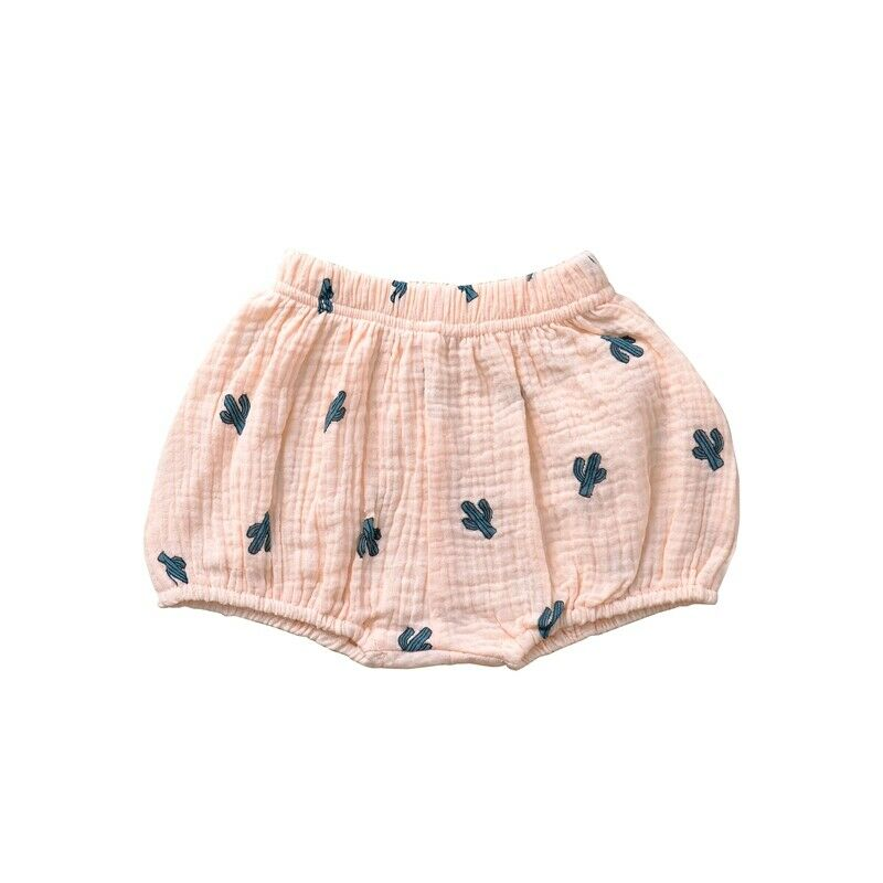 Girls Cotton Linen Bloomer Pink Cactus Shorts
