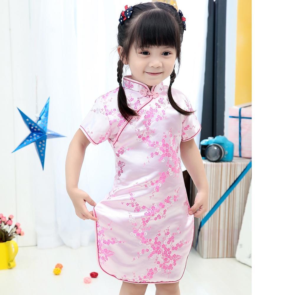 2019 New Summer Baby Girl Dresses Kid Chinese New Year Style Chi-pao Qipao Cheongsam Gift Clothes