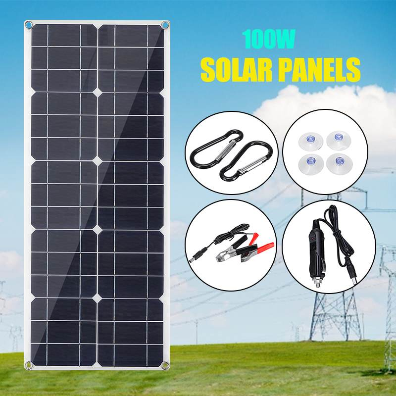 <font><b>100W</b></font> 18V USB Mono <font><b>Solar</b></font> <font><b>Panel</b></font> <font><b>12V</b></font>/5V Monocrystalline Flexible <font><b>Solar</b></font> Charger for Car RV Boat Battery Charger Waterproof 53x29cm image