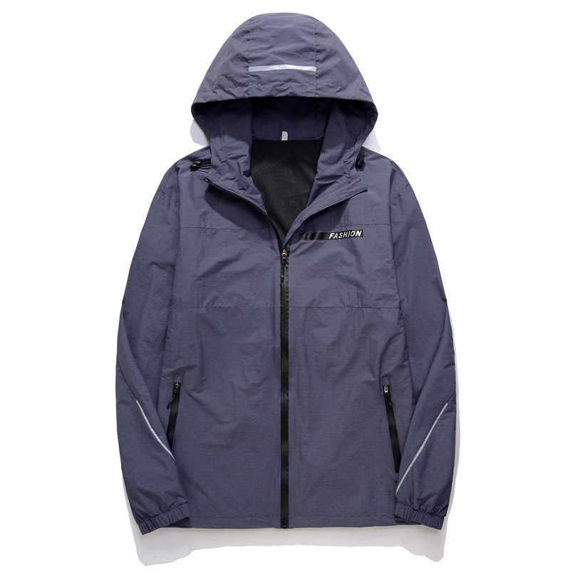 10 xl plus size primavera outono bombardeiro com capuz jaqueta masculina casual solto retalhos blusão outwear com zíper fino casaco