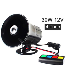 Black 30W 12V 4 Sound Car Horn Loud speaker Sirene Policia Moto Speaker Loud Siren Horn 105db for Car Motorcycle som automotivo
