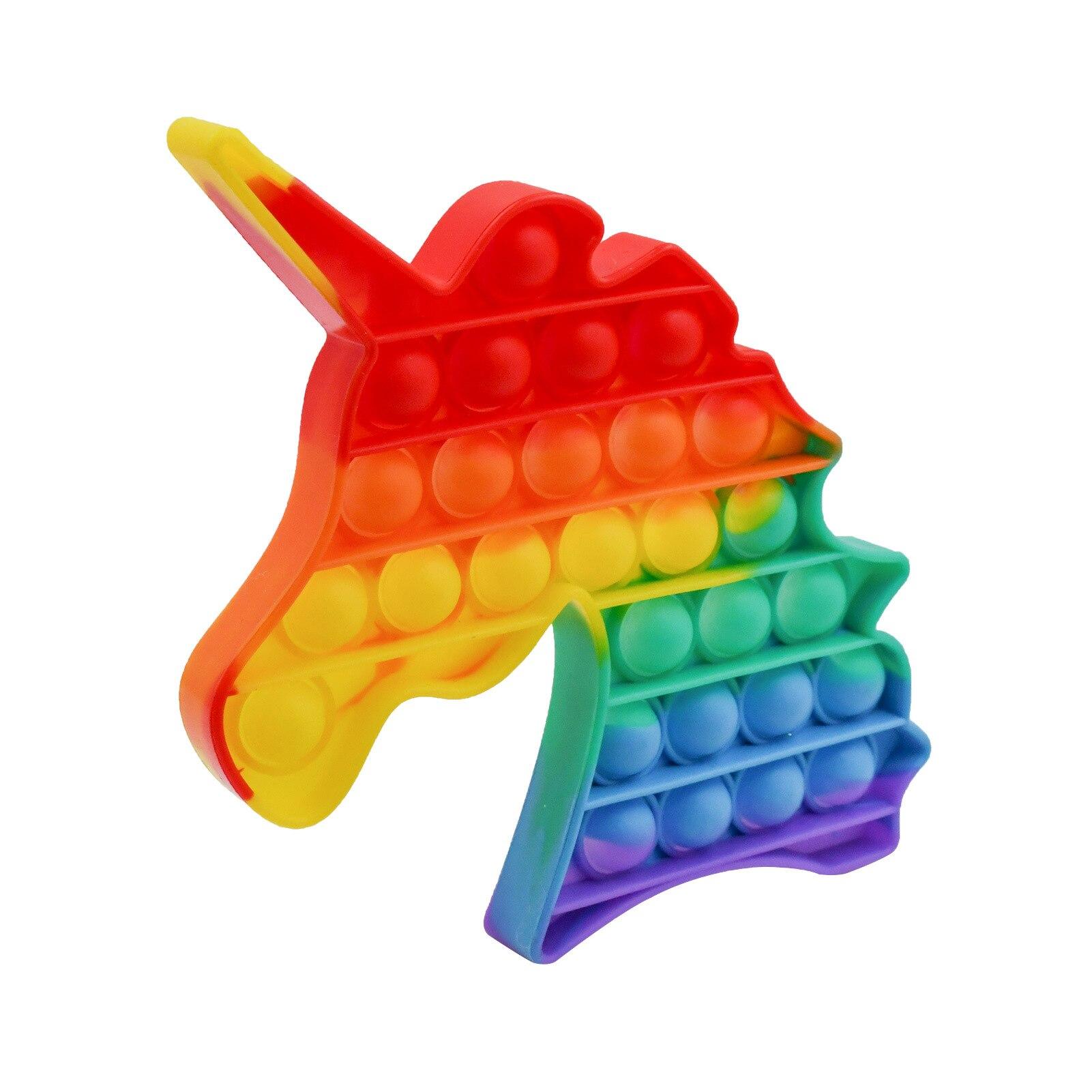 Пуш-ап пузырь сенсорные вытолкнуть его беспокойная игрушка единорог коробка мягкими Figet игрушки для снятия стресса ребенка, игрушка для сня...