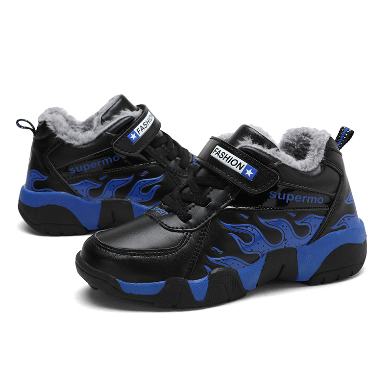 SKHEK Winter Kids Boots Brand Boys Girls Warm Leather Sneakers Fashion Footwear Children Casual Shoes Plush Non Slip Sport Shoes