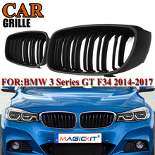 MagicKit 1 Pair of Matte Black Dual Line Front Sport Grille For BMW 3-Series GT F34 2012-2016 Car Styling NEW 318i 320i 328i 335 for bmw 3 series f34 gt 2012 2019 rubber floor mats into saloon 5 pcs set seintex 86535