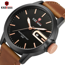 KADEMAN Mens Watches Top Brand Waterproof Sports Fashion Quartz Military Male Leather Wristwatches Relogio Masculino