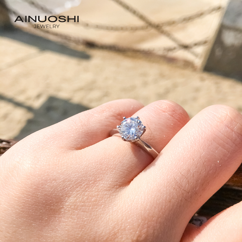 AINUOSHI 1.5ct Straight Arm Solitare Round Cut Moissanite Engagement Rings For Women 925 Silver Jewelry Gifts
