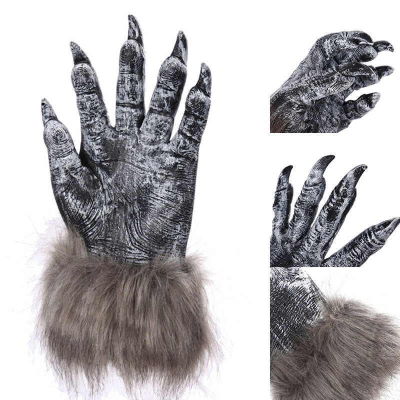 2022 New Fashion Simulation Wolf Claw Gloves Costumes Cosplay Props Silicone Rubber Unisex Wolf Claw Gloves 1 Pairs Gift Cosplay