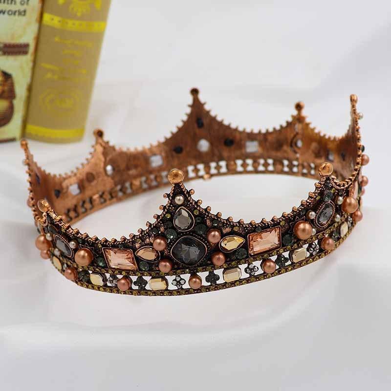 HG214 European Classic Palace Baroque queen crown tiara alloy fashion pearl round bridal headpiece wedding hairpiece for bride