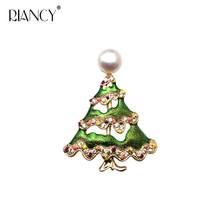 Fashion Natural Freshwater Christmas series Pearls Brooches Women Trendy tree Accessories
