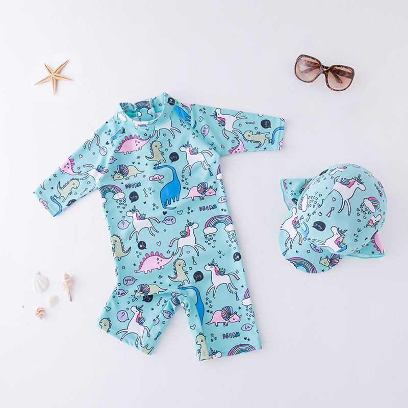 KID'S Swimwear Boys' Cotton One-piece Swimsuit Blue Cartoon Animal World Swimwear Long Sleeve Beachwear Sun-resistant Hot Spring