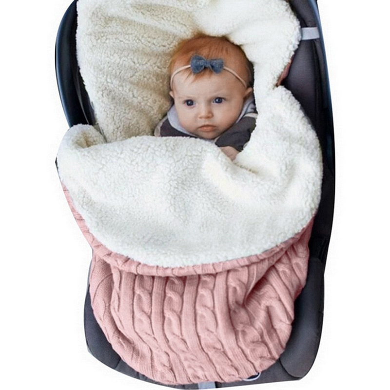CYSINCOS Thick Baby Swaddle Wrap Knit Velvet Envelope Sleeping Bag Newborn Infant Warm Bands Indoor Infant Stroller Sleeping Bag