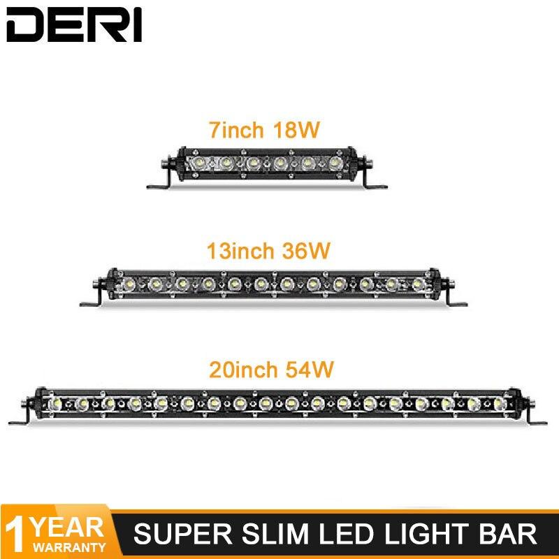 54W 36W 18W Slim Led Bar Offroad Single Row Flood Spot Beam Work Light Bar For Jeep Led Lada Niva Jeep Ford Car Styling 12V 24V