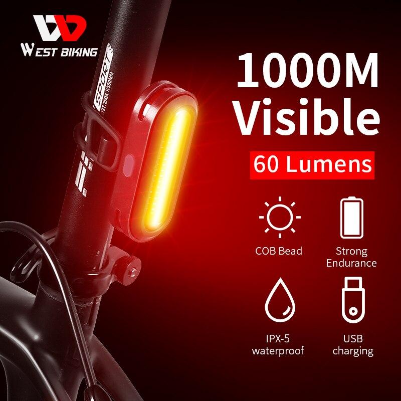 WEST BIKING для велосипеда, задний светильник USB Перезаряжаемые светодиодный фонарь светильник велосипед аксессуары 6 Режим Велоспорт Безопасно...